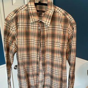 John Varvatos shirt, M, Red/Tan/Gray Plaid